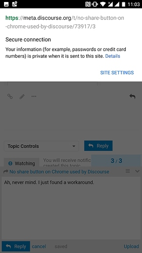 No share button on Chrome used by Discourse - support