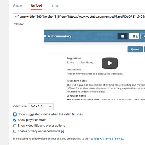 Embedding YouTube without recommended videos at the end? - support