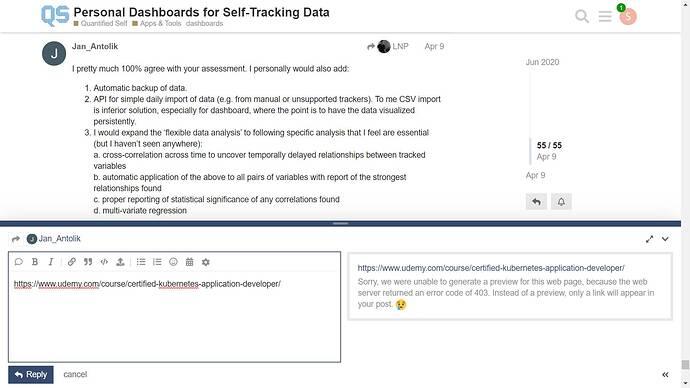 udemy error code 403 on quantifiedself forum