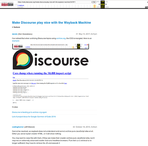 Make Discourse play nice with the Wayback Machine - feature