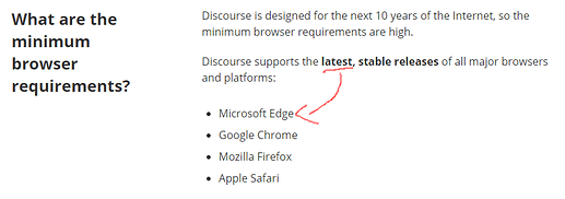 Discourse browser requirements