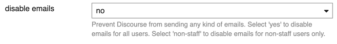 disable email settings
