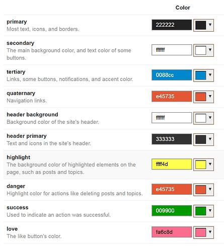 admin color scheme page