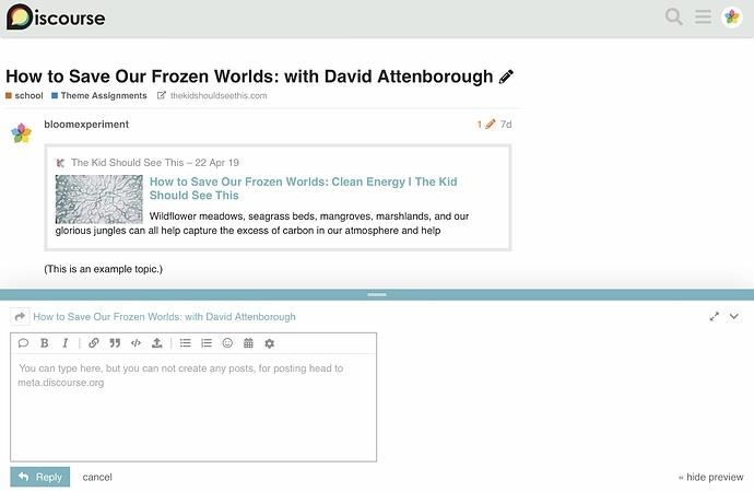Screenshot of Arctic Sunrise theme on Discourse