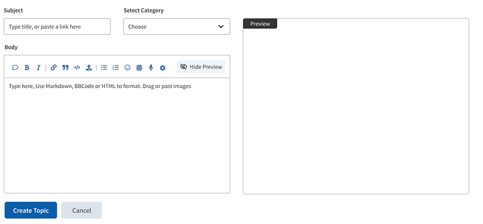 Create Topic Preview