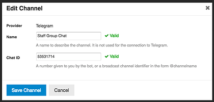 Set up Telegram notifications using the discourse-chat-integration