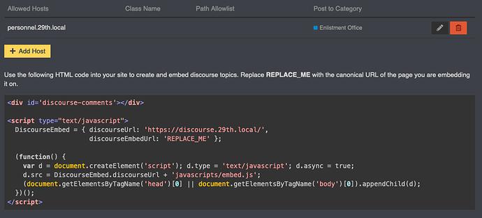 screenshot of admin dashboard embed page