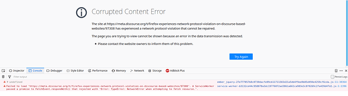 Firefox experiences Network Protocol Violation on Discourse based