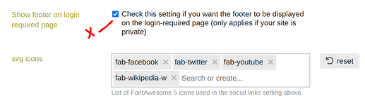 show footer on login page setting