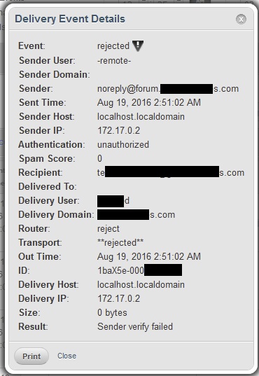 Discourse email delivery rejected with cPanel SMTP server - support