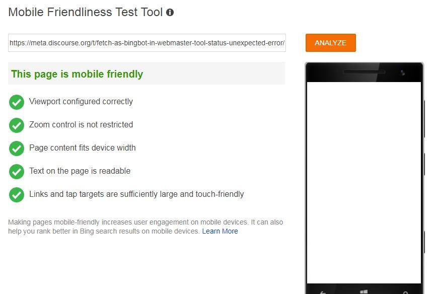 bing mobile friendly test