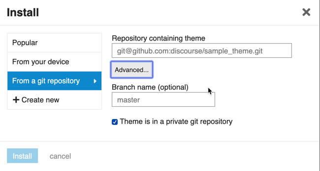 How to source a theme from a private git repository - admins