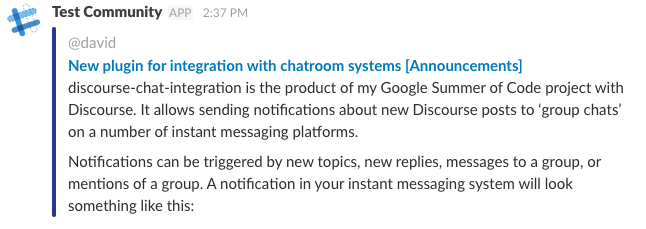 Chatroom Integration Plugin (discourse-chat-integration
