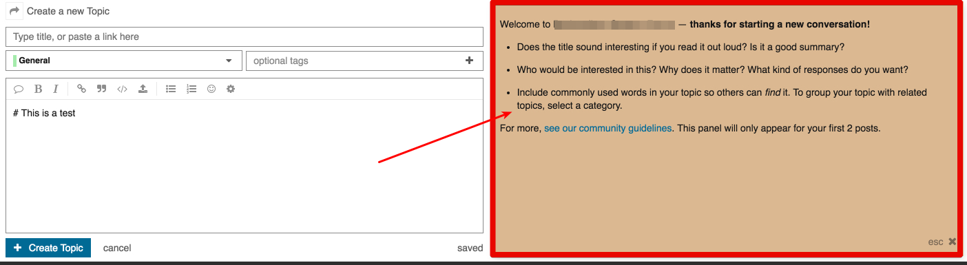 Where can I configure Welcome message during topic creation