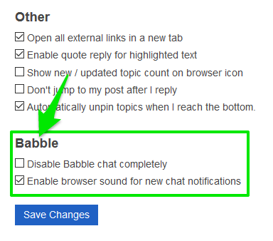 Babble%20User%20Level%20Options%20Not%20Displaying