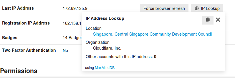 Security tab shows me a different location due to Cloudflare