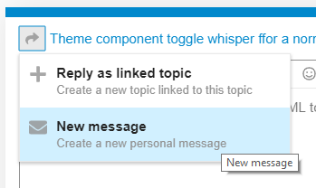 Screenshot of the New Message reply option