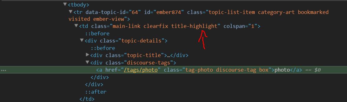 custom class added to html